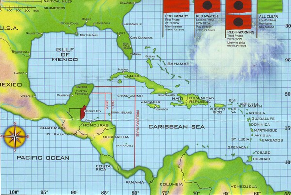Belize Hurricane Tracking Map Belize Central America Mappery - Belize map