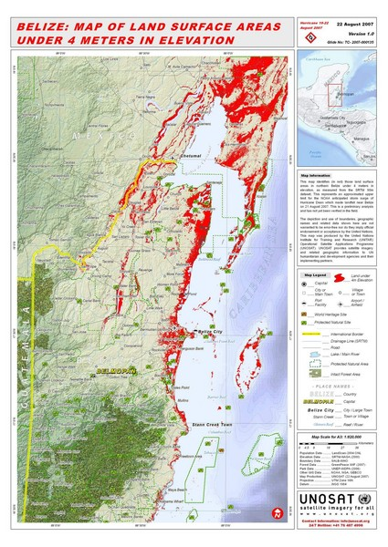 Belize Land Surface Areas Under 4 Meters Map