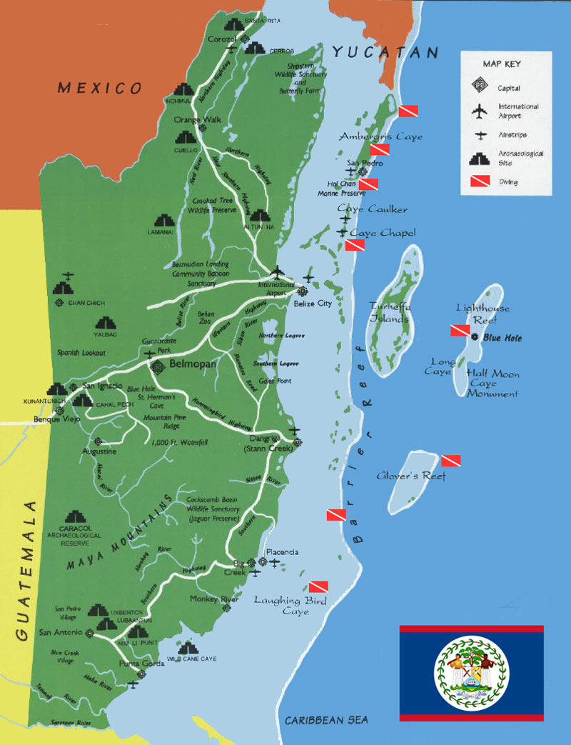 Belize Regional Tourist Map Belize Mappery - Belize map