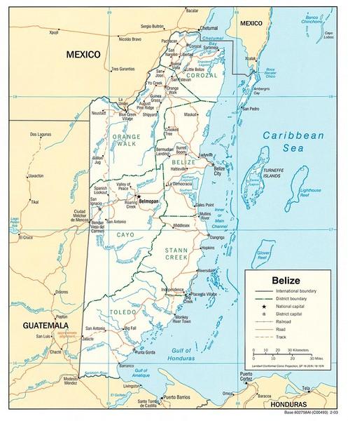 Belize Tourist Map Belize Mappery - Belize tourist map