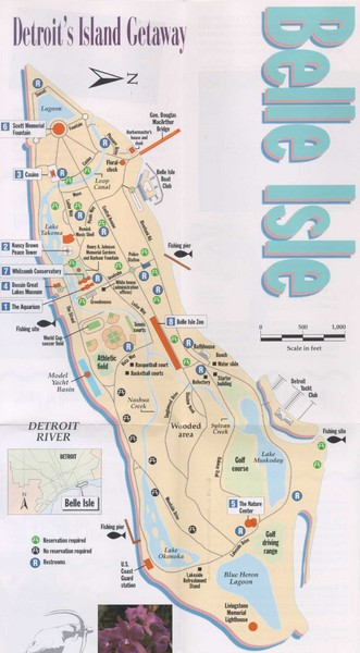 Belle Isle Tourist Map   Belle Isle Michigan • mappery