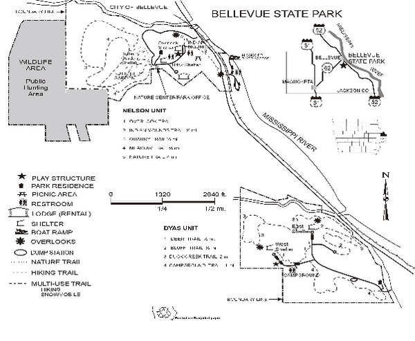 Bellevue State Park Map Bellevue Ia Mappery