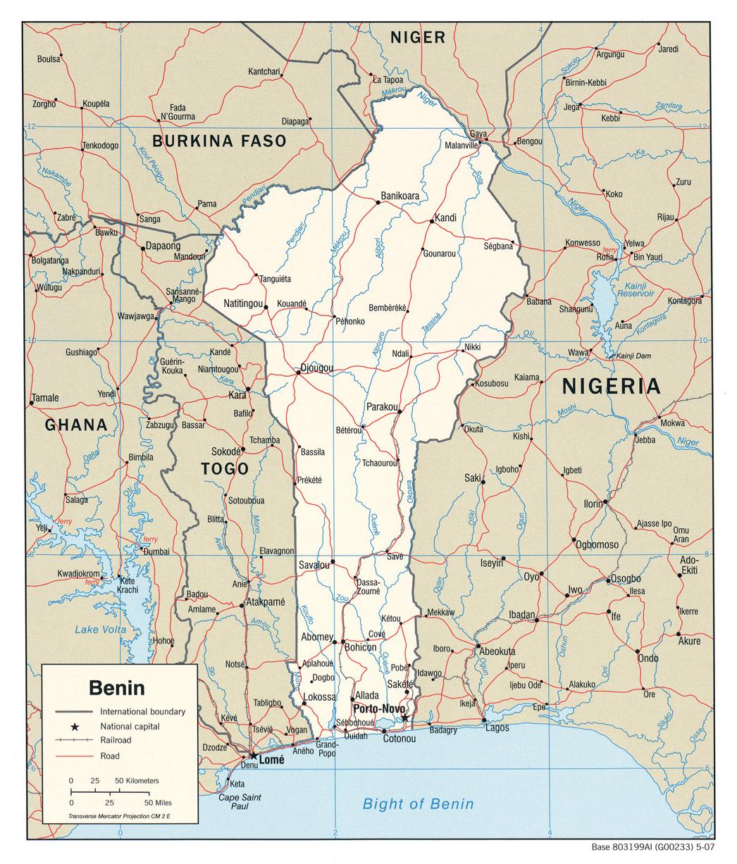 Benin Political Map Benin mappery