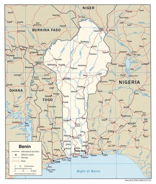 a map of benin. Fullsize Benin Political Map