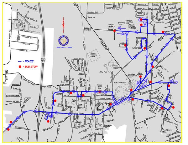 Berea Bus Route Map Berea Kentucky mappery
