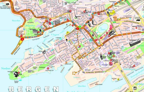 Bergen Norway Tourist Map Bergen Mappery - Norway map voss