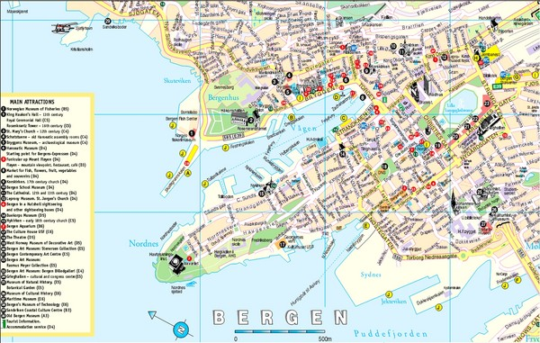 Bergen Norway Tourist Map Bergen Mappery - Norway map picture