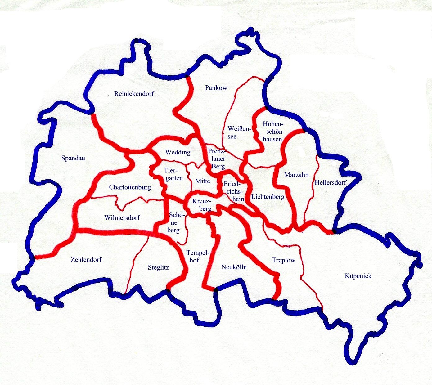 Berlin Bezirke Map Berlin Mappery