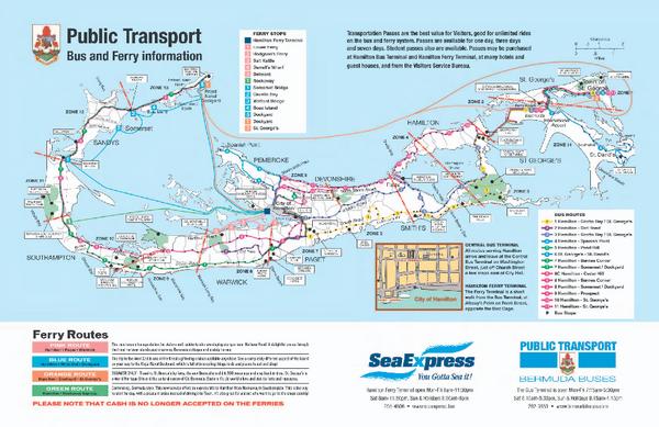 Bermuda Public Transport Map Bermuda mappery