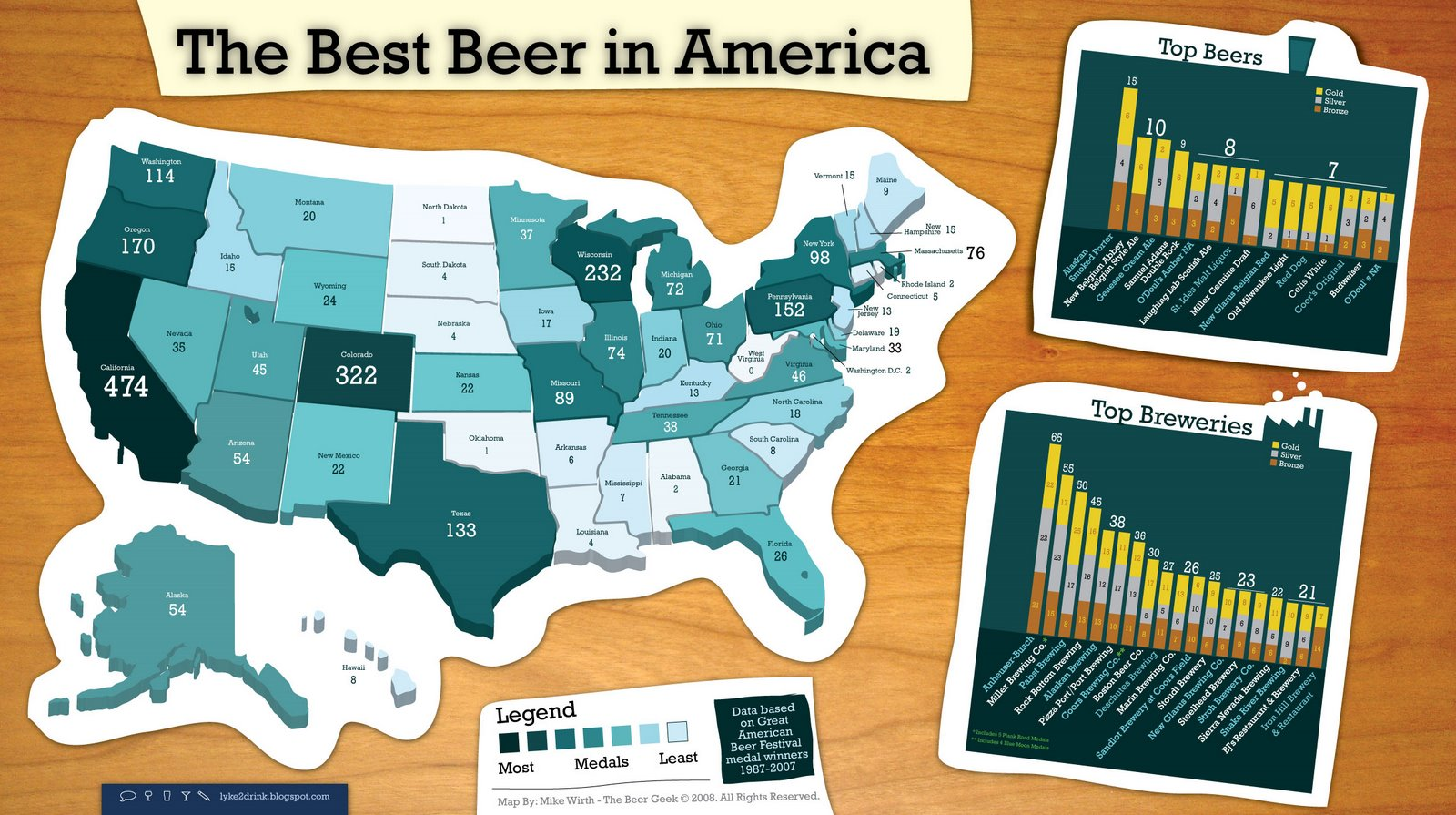 Best Beer In America 2008 Map United States Mappery - Beer Map Of The Us