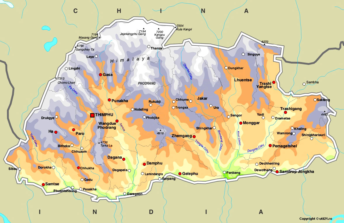 Bhutan Maps Images Bhutan Map • Mappery