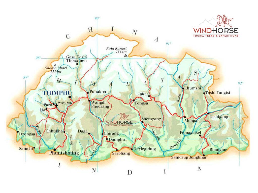 Bhutan physical Map mappery
