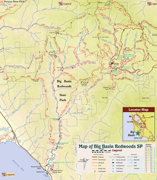 Big Basin Redwoods State Park Trail Map - Boulder Creek California ...