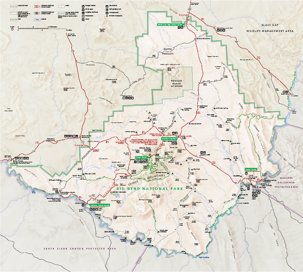 Big Bend National Park map - Big Bend National Park TX • mappery
