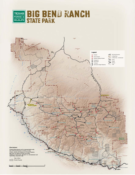 Big Bend, Texas State Park Facility and Trail Map