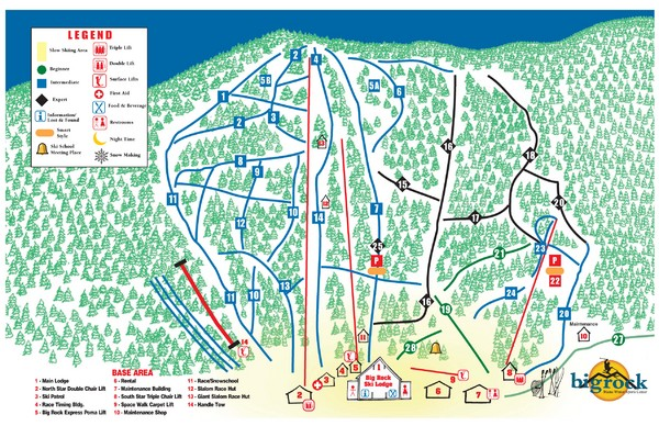 Big Rock Ski Trail Map
