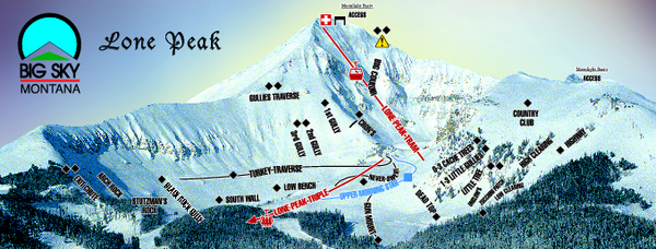 Big Sky Resort Lone Peak Detail Ski Trail Map Big Sky Montana