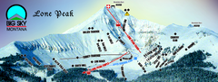 Big Sky Resort Lone Peak Detail Ski Trail Map