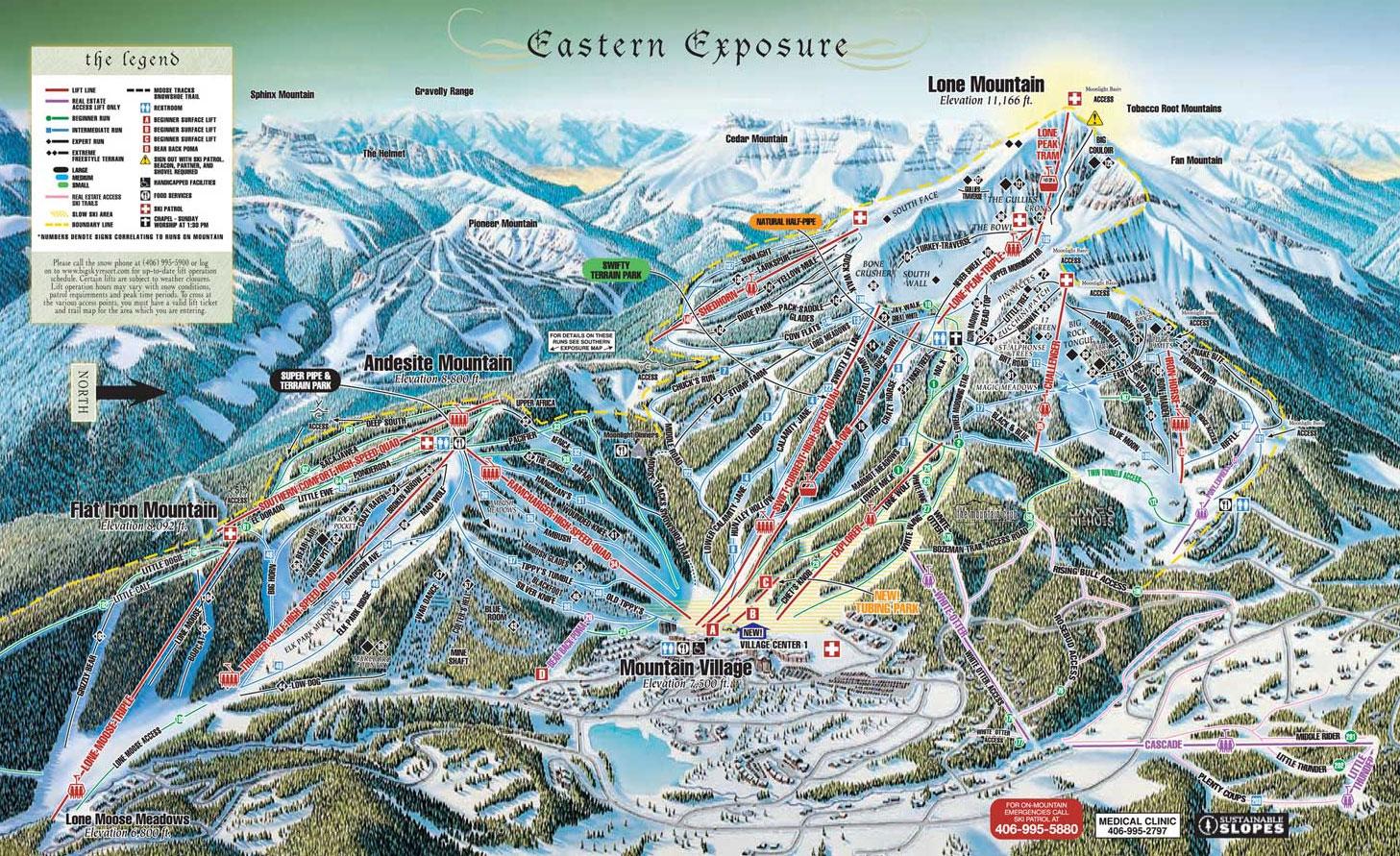 big sky ski resort trail map eastern exposure 2006-07 - big sky mt
