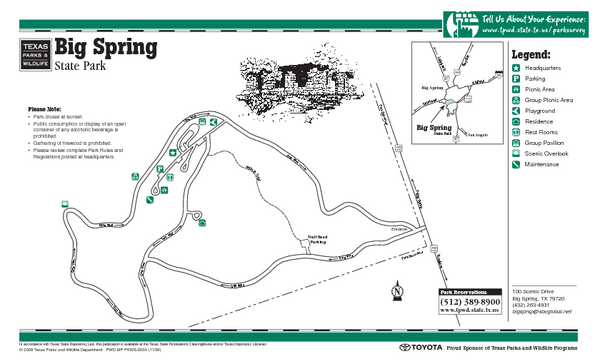 Big Spring, Texas State Park Map
