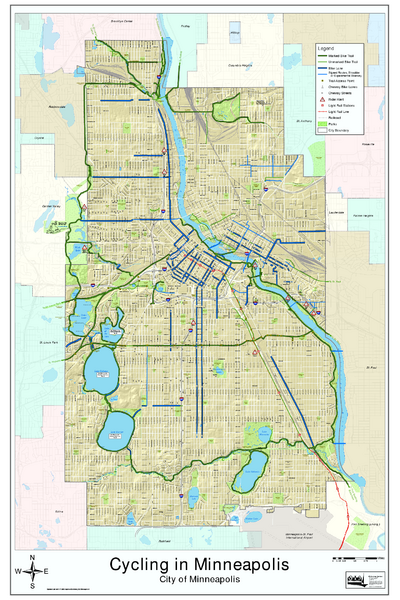 Bike Map of Minneapolis Minnesota - Minneapolis MN • mappery