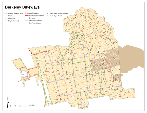 Bikeway Network of Berkeley, California Map