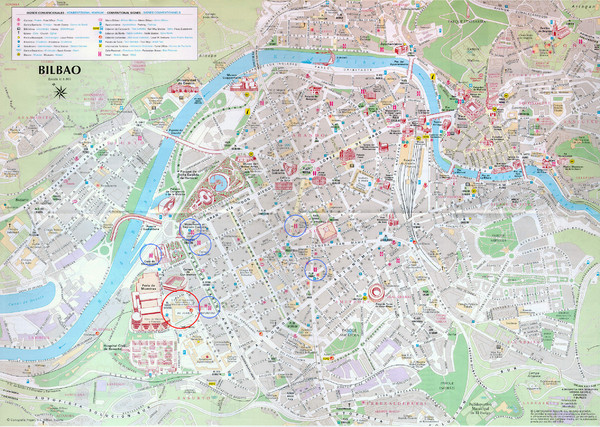 Tourist map of central Bilbao, Spain. Shows major buildings and other points