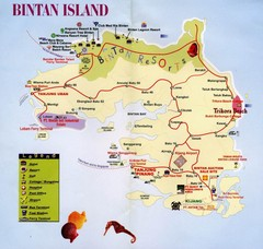 Bintan Island, Indonesia Beach Tourist Map