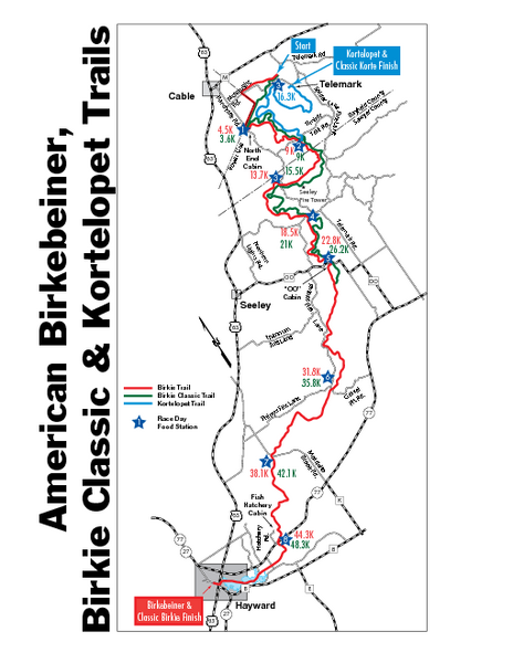 Birkebeiner Cross Country Ski Race Map