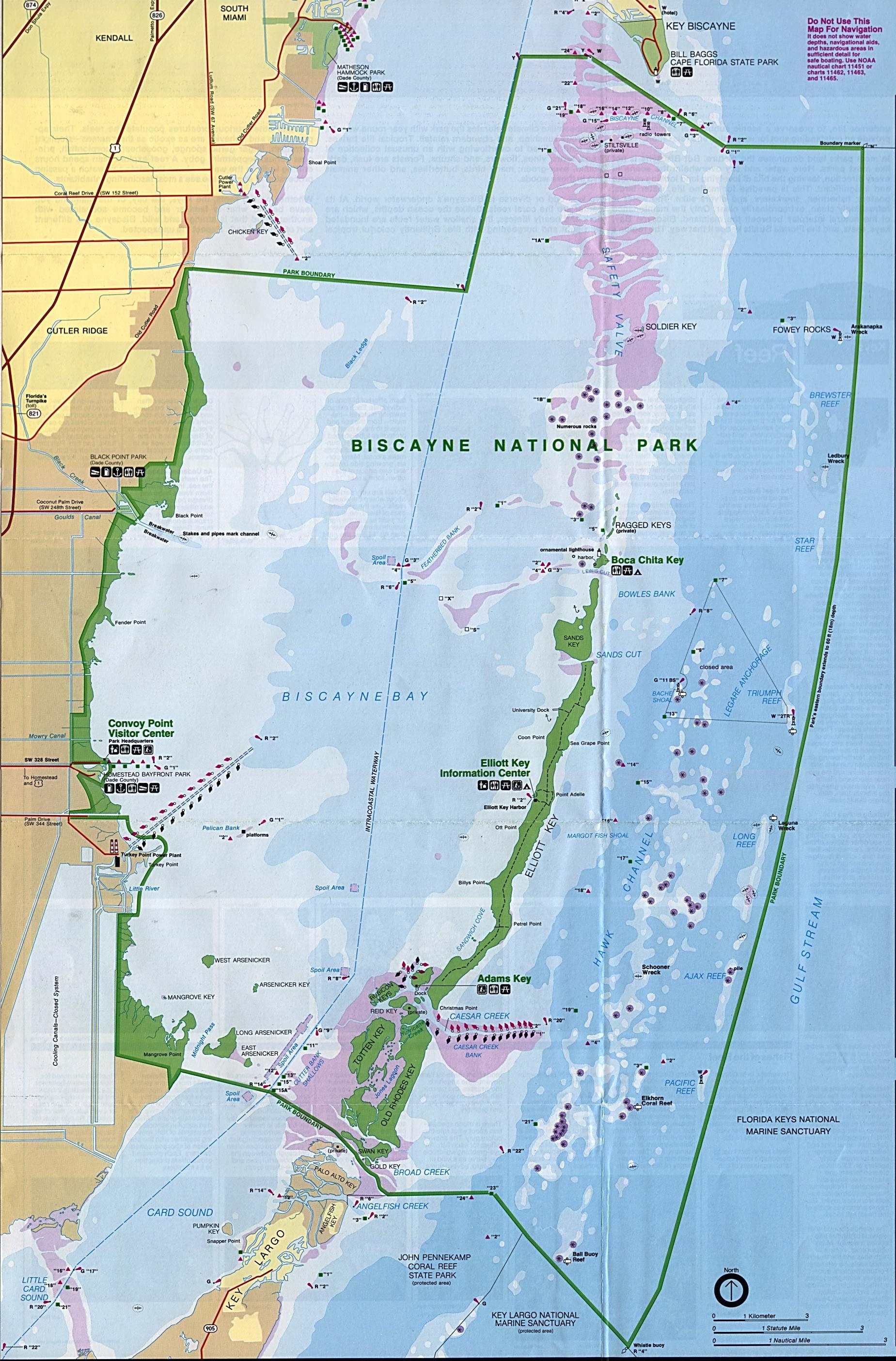 Biscayne Bay Campus Map.Biscayne National Park Map Biscayne National Park Mappery