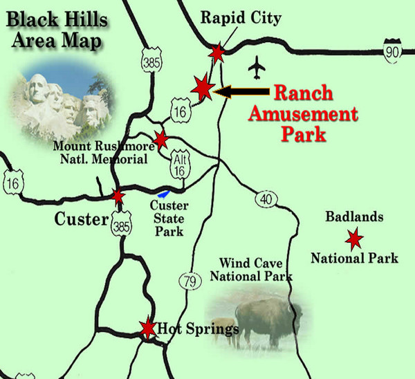 Black Hills Area Map Custer mappery – South Dakota Tourist Map