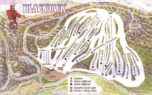 Blackjack Ski Resort Ski Trail Map
