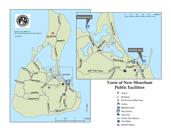 Block Island Road Map