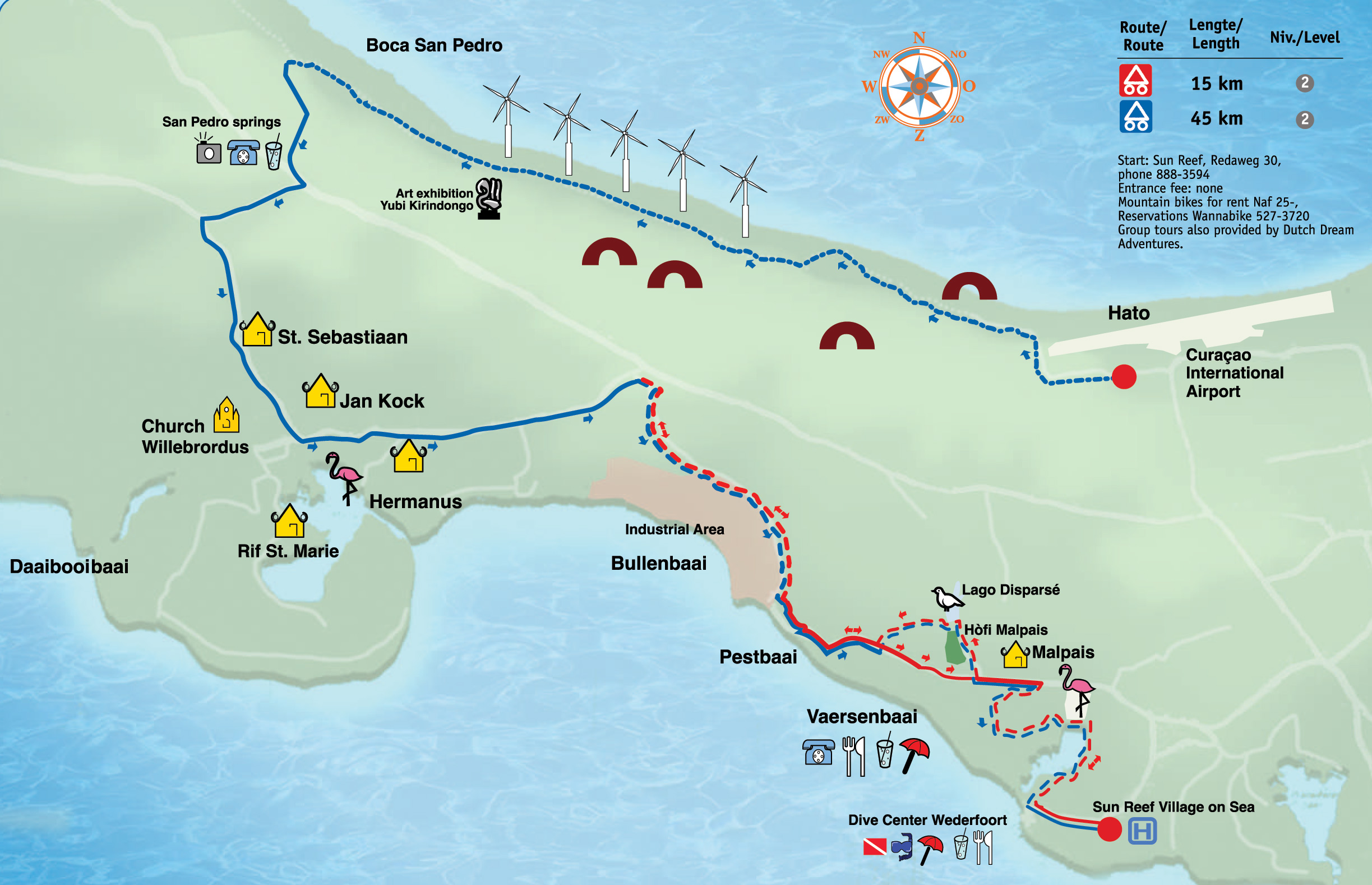 Boca St Michiel Malpais Mountain Biking trail map Curacao mappery
