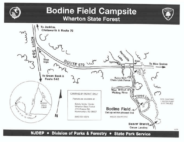 Bodine Field camp area map