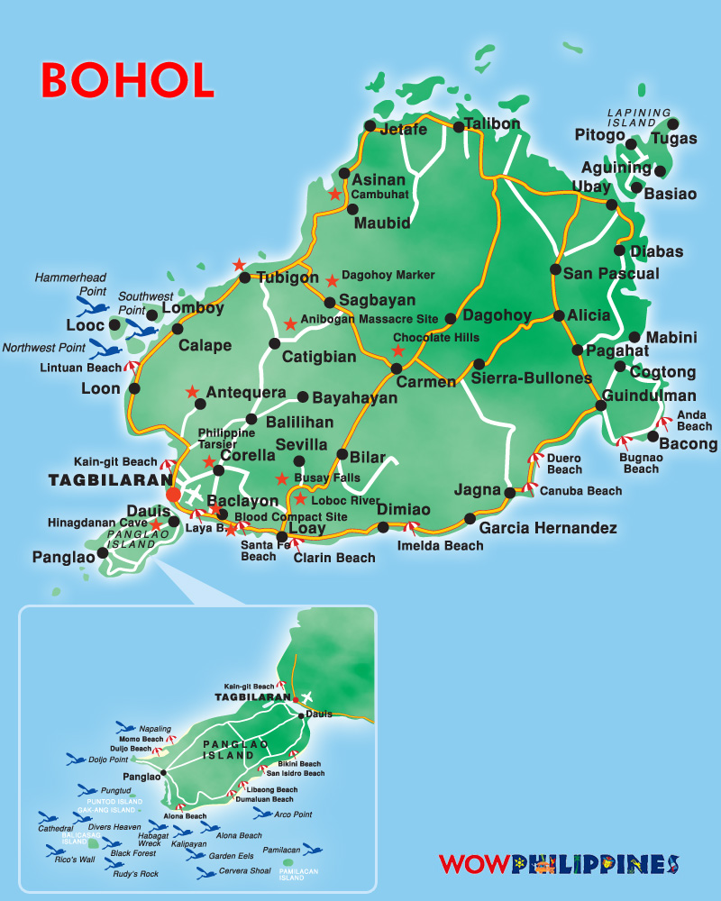 Panglao Island Philippines  City new picture : Bohol Island Tourist Map Bohol Island • mappery