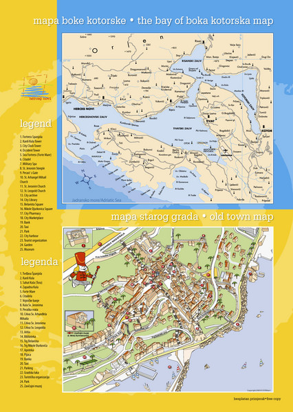 Boka Kotorska Bay and Herceg Novi Tourist Map Herceg Novi