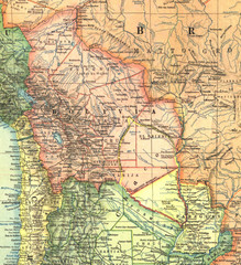 Bolivia and Paraguay in 1921 Map