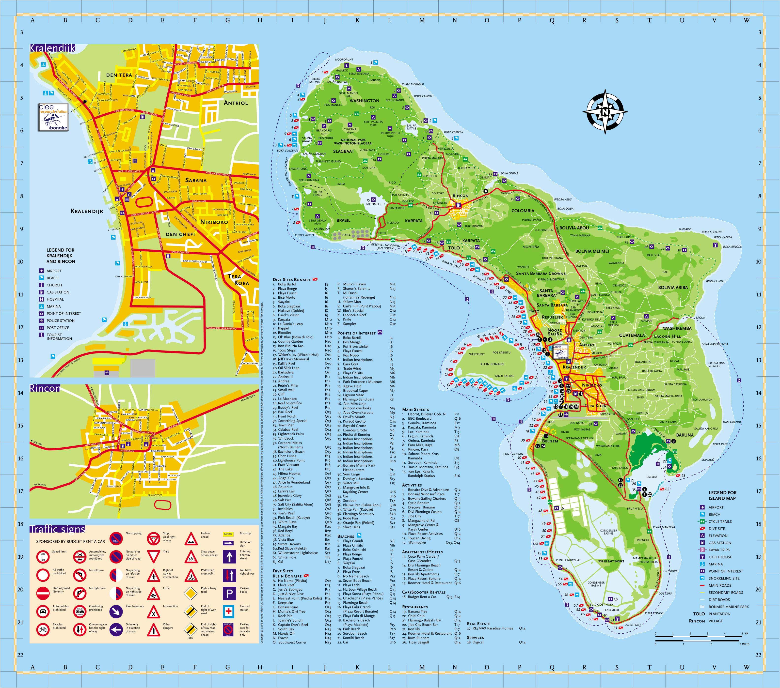 Bonaire Island Tourist Map  Bonaire Island  mappery