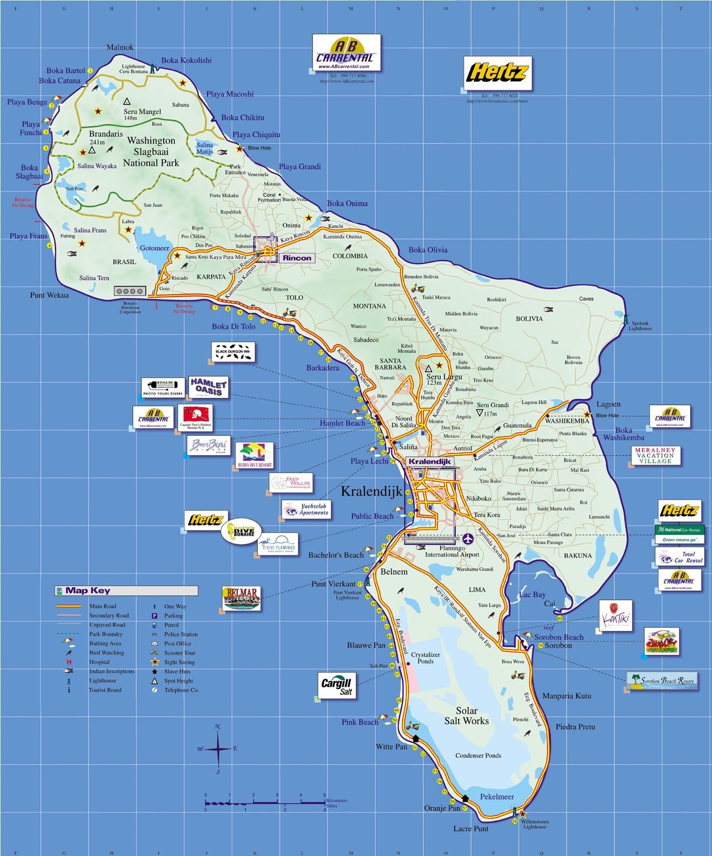Bonaire Island Tourist Map Bonaire mappery