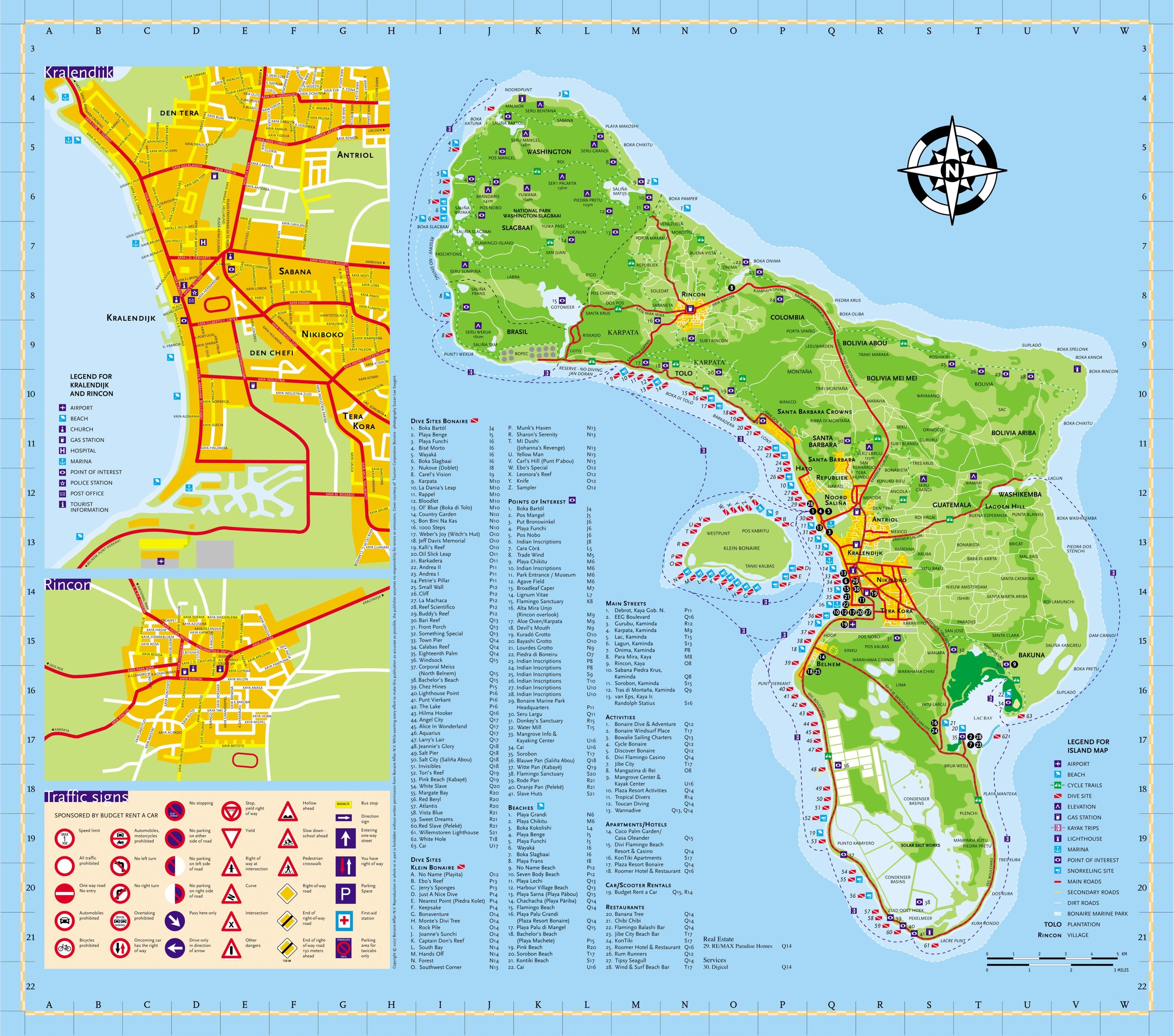 Bonaire Tourist Map Bonaire mappery