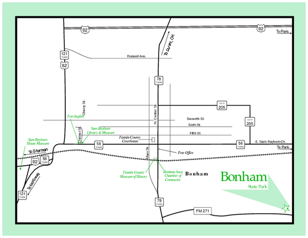 Bonham, Texas State Park Map