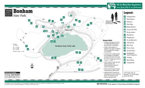 Bonham Texas State Park Trail Map - Bonham Texas • mappery