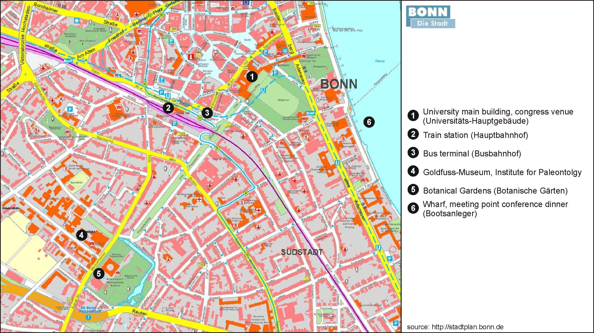 Bonn die Stadt Map Bonn die stadt mappery