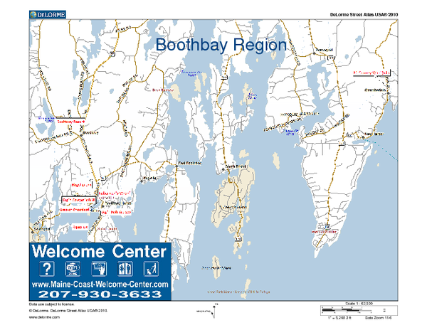 Boothbay Area, Maine, USA Map