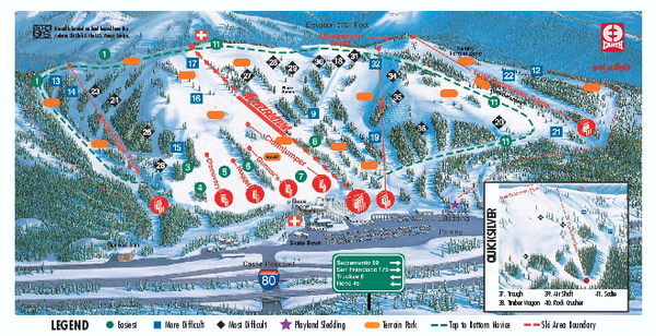Skiing In California Map.Boreal Ski Trail Map 19659 Boreal Ridge Rd Truckee Ca 96161 Mappery