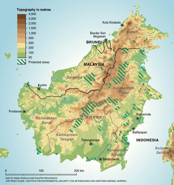 Borneo Protected Areas Map Borneo Indonesia mappery