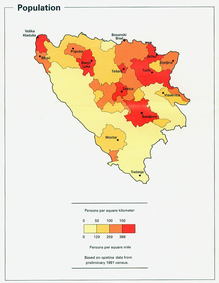 Bosnia And Herzegovina Population Density Map Bosnia Mappery - Bosnia and herzegovina map