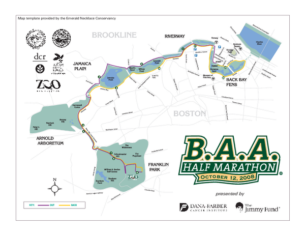 Boston Athletic Association Half Marathon Map Boston MA US Mappery - Us map boston