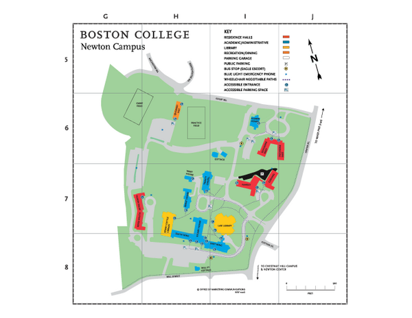 Boston College - Newton Campus Map - 885 Centre Street Newton Centre ...